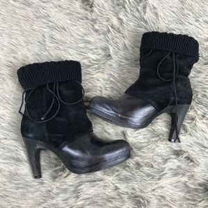 All Saints Suede Leather Icarus Sock Booties 7